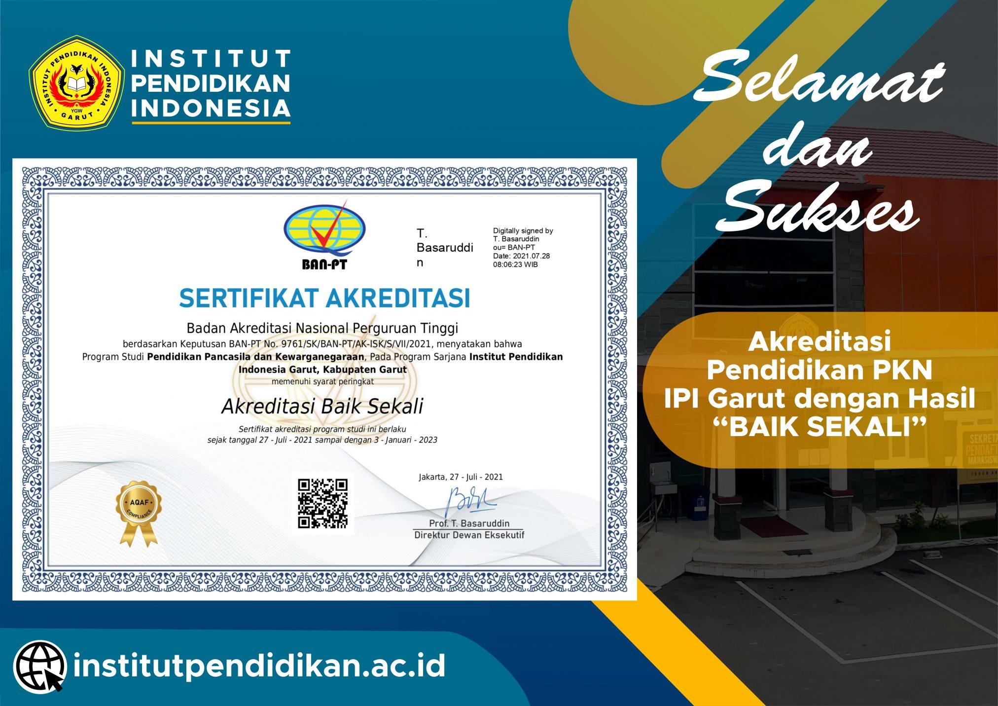 """Selamat! Prodi Pendidikan PKN meraih Akreditasi """"Baik Sekali"""""""
